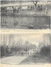 FORET DE DREUX (28) ensemble de 2 cartes chasse à courre piqueur hallali à l'eau