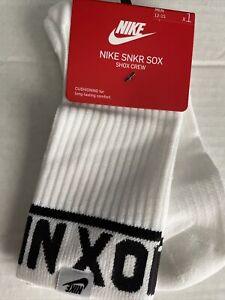 NWT 1 PAIR NIKE NSW SNKR SOX SHOX CREW SZ 12–15 XL Sneaker Socks White