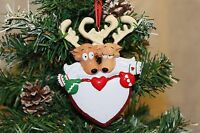 Personalised Couples Christmas Tree Ornament Decoration - Reindeer Heart