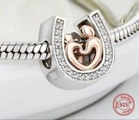 LUCKY HORSESHOE CHARM STERLING SILVER 925 MUM SON CHILD HAND IN HAND HEART