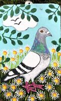 Original Painting Pigeon In Daisies, Folk/naive Art, Bird
