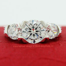 Genuine Solid 9k White Gold Engagement Wedding Trilogy Ring Simulated Diamonds