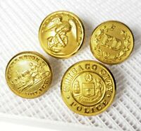 Lot of (4) Vintage Misc. Brass Uniform Buttons - Chicago PD, Charleston - B9