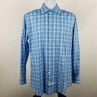 Peter Millar Mens 100% Cotton Blue Plaid Check L/S Dress Button Shirt Sz Medium