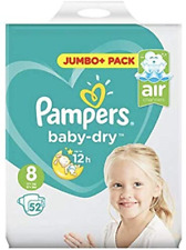 Pampers Size 8 Baby Dry Jumbo + Pack of 52