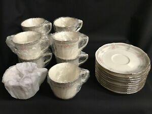 10 Sets NORITAKE ROTHSCHILD Ivory Cup and Saucer 7293 Platinum Trim Japan