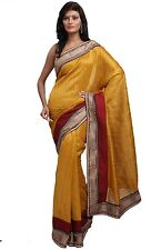 Bollywood Party Saree Wedding Designer Beautiful Bhagalpur Silk Fabric Zari Sari
