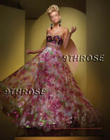 IMPRESS EVERYONE! PINK FLORAL BEADED FORMAL/EVENING/PROM/BALL/BRIDESMAID GOWN