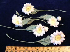 Vintage Millinery Flower Lot of5 NP8 White Blue Yellow