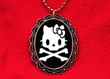 HELLO SKULL KITTY CAT PENDANT NECKLACE KAWAII GOTH