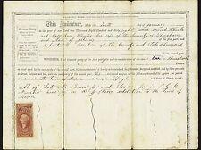 US SCOTT #R70c $1 1862 LEASE REVENUE PERF CENTERED USED 1868 ILLINOIS DOCUMENT