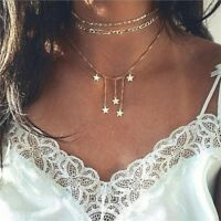 Women Multilayer Gold Choker Star Crystal Chain Pendant Necklace Elegant Jewelry
