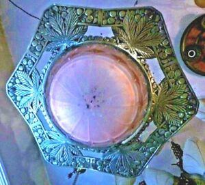 Big French Art Deco Chrome Cannabis Leaf Hexagon With Pink Deco Shade