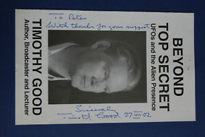 TIMOTHY GOOD Hand Signed AUTOGRAPH with dedication-UFO/Alien researcher