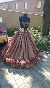 WGT * Kleid-Zweiteiler braun,Organza-Schleppe*Steampunk*Gothic*Barock*