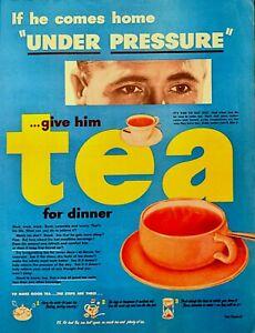 1950 THE TEA COUNCIL Under Pressure Drink Tea Vintage Magazine Print Ad