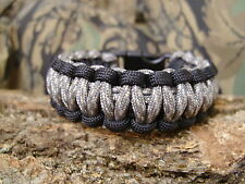 550 Paracord Survival Bracelet ACU Camo & BLACK Triple Core Cobra Weave USA