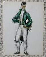 Drawing Watercolour Costume Noble Theatre 1st Empire Consulate B. Duquesnoy