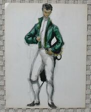 Dessin Aquarelle - Costume Théâtre Noble 1er Empire - Consulat - B. Duquesnoy