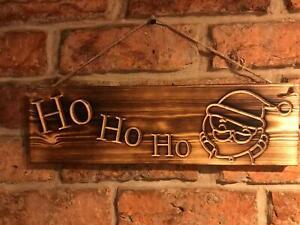 Ho Ho Ho Hanging Christmas burnt wood finish plaque sign
