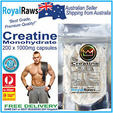 Creatine Premuim Pure Quality 200 x 1000mg capsules Strength Power Lean Muscle