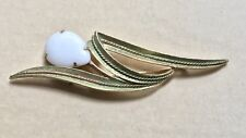 "Vintage Signed Sara Coventry 4 Inch Long Brooch White Tear Drop ""Stone"" Modern"
