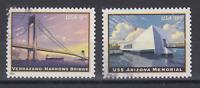 US Sc 4872-4873 used. 2014 $5.60 Verrazano Bridge $19.99 USS Arizona, VF