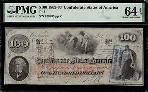 T-41 / PF-25 $100 1862 Confederate Currency CSA - Civil War - Graded PMG 64 EPQ