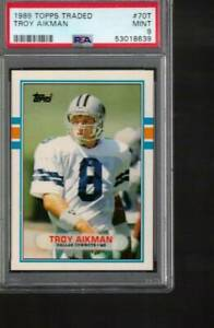 # 70 t  TROY  AIKMAN rc 1989  TOPPS TRADED      PSA 9  rookie