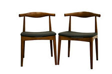 2 Wegner Elbow Style Dining Chairs Danish Mid-Cent Walnut Stain Solid Wood Frame