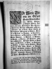 Maria Theresia röm. Kaiserin Kaiserlicher Erlaß  1768 ,z.Erb– Königreich Böheim