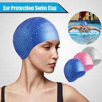 Swim Cap Waterproof Ear Protection Hat Silicone For Men Women Long Hair Swimming