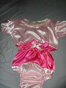 """ADULT BABY SISSY ALL-IN-ONE BABY PINK + DEEP SATIN ROMPER 52"""" CHEST SLEEPSUIT"""