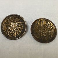 "2 Antique Metal Buttons Round Concave Flower Leaves 0.75"" Loop Shank Floral Pair"