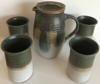 Vintage 70s Ceramic Pitcher Cups Art Pottery Retro Mid Century Modern Stoneware
