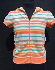 NWT JUICY COUTURE Women's Orange Fiz Stripe S/S Hoodie Size SMALL  $110.00