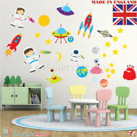 Outer Space Wall Stickers Kids Astronaut Rocket Boys Nursery Bedroom Vinyl Decal