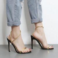 sandalias de mujer talón 10.5 cm elegantes tacón de aguja oro abierto como piel