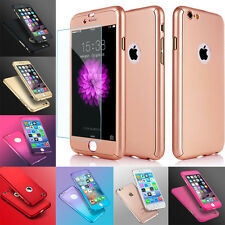 Hybrid 360° Hard Ultra thin Case+Tempered Glass Cover For Apple iPhone 6s 8 Plus