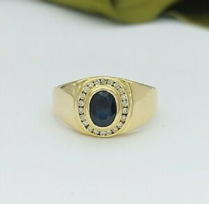 Ladies Ring 9ct (375, 9K) Yellow Gold Natural Sapphire and Diamond Ring