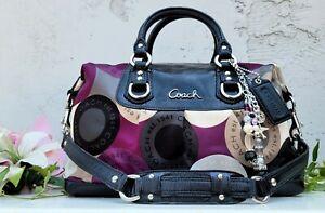 Coach 15451 snaphead ashley satchel Shoulder tote Handbag Purse purple black