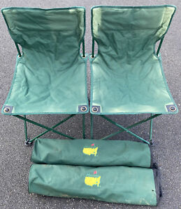 Lot Of 2 Folding MASTERS GOLF CHAIRS W/ Bags Green Outdoor Chairs Sunkissed