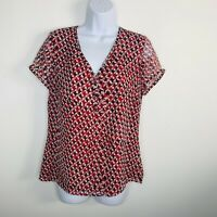 Ann Taylor LOFT Womens Top Sz 12 Red Black Geometric Short Sleeve V-neck KK19