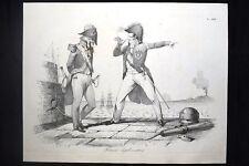Incisione d'allegoria e satira D'Harcourt, Papa Pio IX, Gaeta Don Pirlone 1851