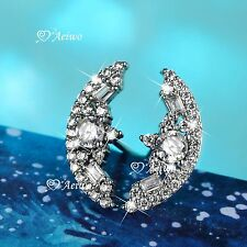 18K WHITE YELLOW GOLD 925 SILVER CRYSTAL STUD CRESCENT EARRINGS