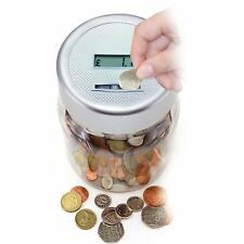 Digital Coin Counter LCD Display Jumbo Jar Sorter Money Counts Coins Bank Silver
