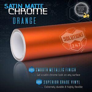 """60"""" x 96"""" Orange Satin Matte Chrome Metallic Vinyl Wrap Sticker Decal Air Free"""