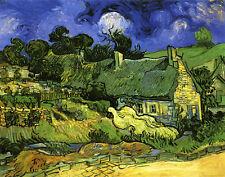 Kornfeld mit Blick auf Arles Bauernhaus Nacht Bütten Vincent van Gogh A3 035