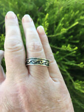 NEW Large Size Stirling Silver Ring Wave Pattern - Size Z+