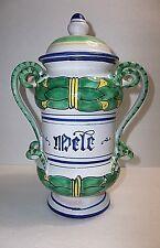 Vintage Italian Faience Majolica APOTHECARY Jar SNAKE Handles